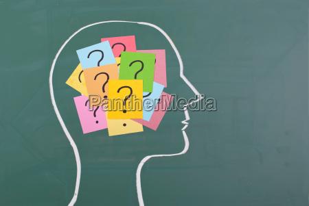 cervello umano e colorato punto interrogativo
