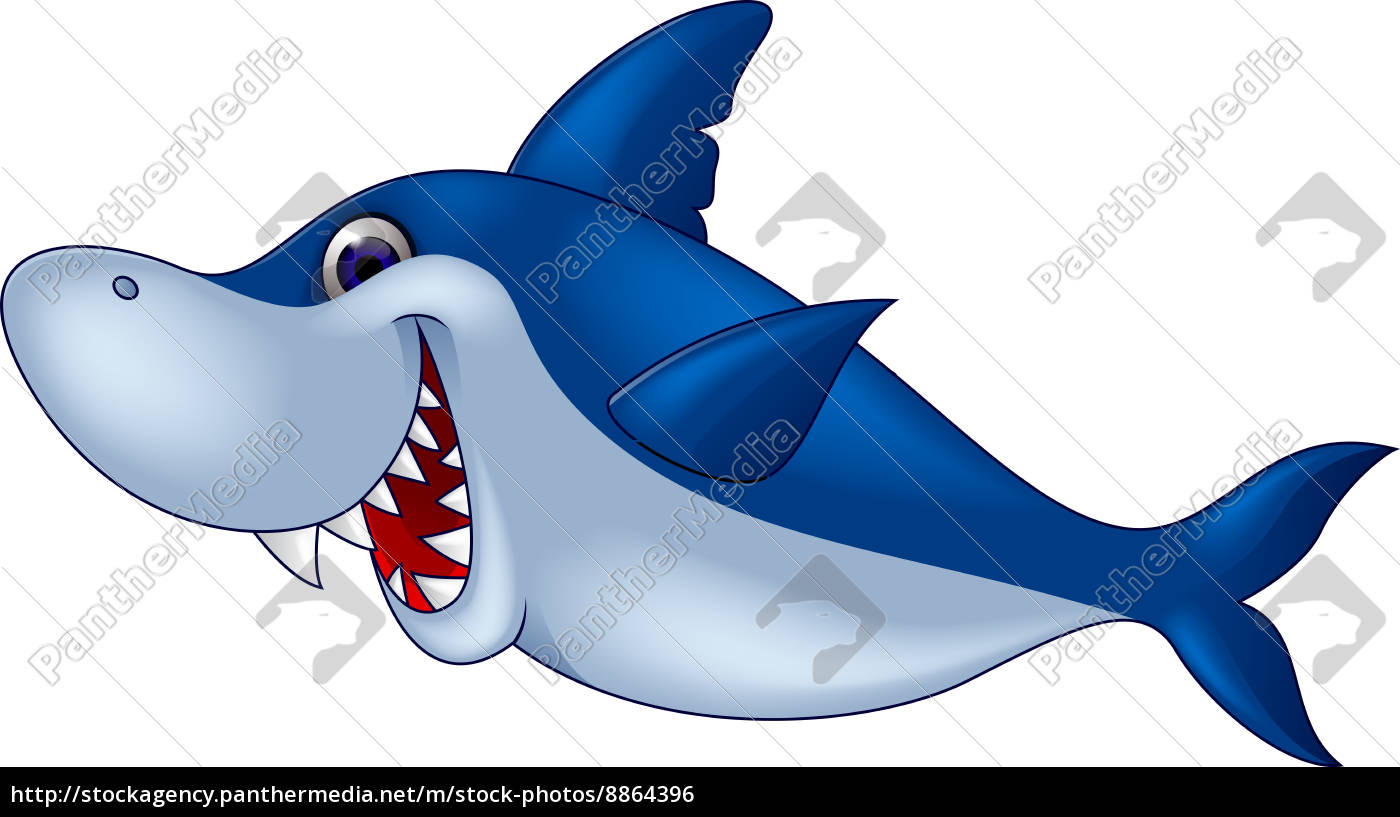 Divertente cartone animato squalo stockphoto