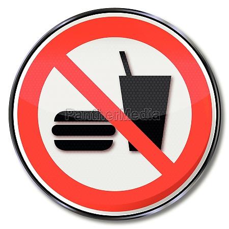segnali di divieto mangiare e bere