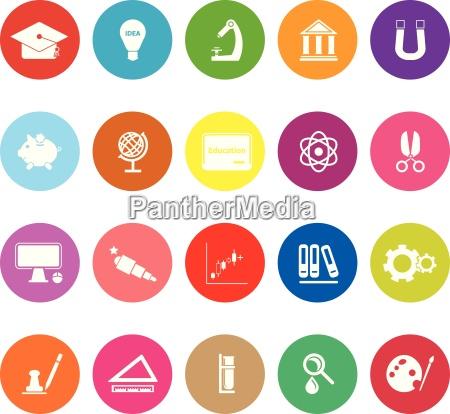 istruzione icone piatte su sfondo bianco