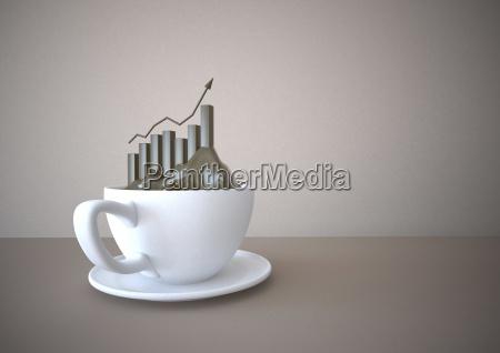 tazza di caffe con grafico di