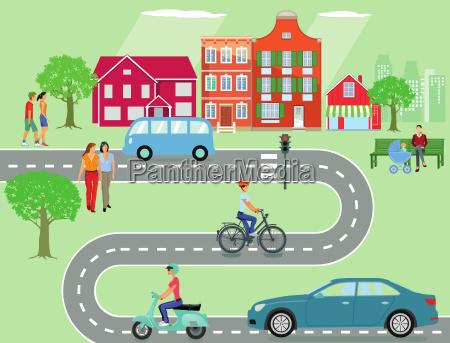 comunita con il traffico e la